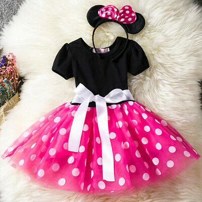 ed657db58 Kids Girls Baby Toddler Minnie Mouse Party Dotted Tulle Dress + Hair Hoop  2pcs • 10.06
