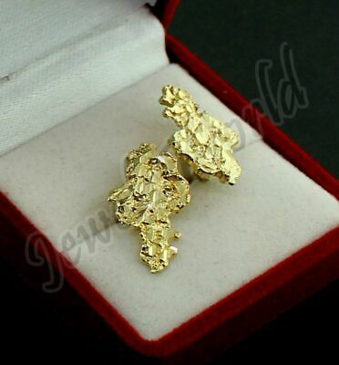 $126 • Buy Mens Real 10K Solid Yellow Gold Large Nugget Diamond Cut Stud Earrings