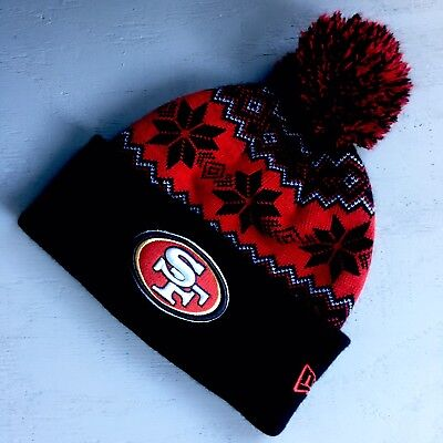 24d3e93732949 NEW ERA San Francisco 49ers Red Black Cuffed Knit Beanie W Pom Ski Hat