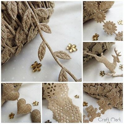 Hessian Burlap Jute Style Lilen Trim Ribbon Craft Sewing Rustic Wedding Folk • 1.39£