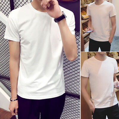 View Details Men T-Shirt Short Sleeve Basic Tee Slim Fit Casual Tops Cotton White Summer • 1.39$ CDN