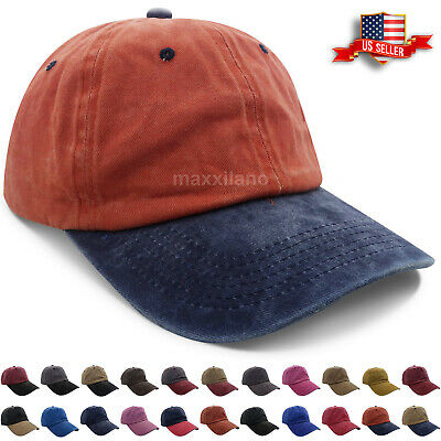 Mens Baseball Cap Washed Cotton Polo Style Caps Plain Adjustable Dad Hat Womens • 4.95£