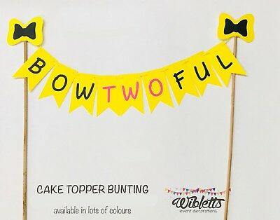 AU15 • Buy EMMA WIGGLE BOW BOWTWOFUL THEME LARGE FLAG BUNTING CAKE TOPPER TWO 2nd BIRTHDAY