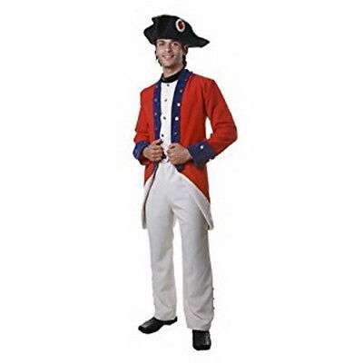 $59.98 • Buy Colonial Solider Costume Adult 4 Pc Red/Blue/Tan Coat/Vest Pants Collar & Hat