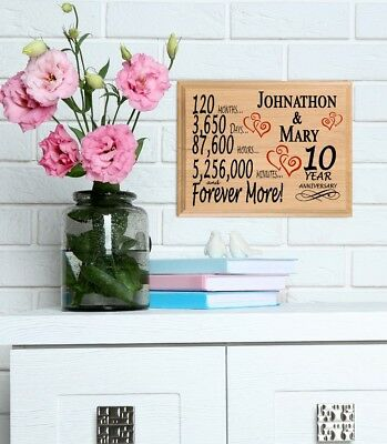 10th Anniversary Gift PERSONALIZED FAST 10 Year For Her Him Couple Husband Wife • 30.38£