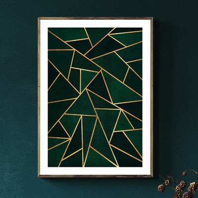 Geometric Gold & Green Vintage Painting Fine Art Print Poster A4 A3 A2 A1 • 19.99£
