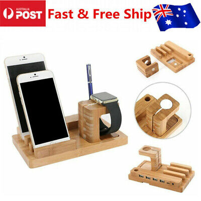 AU26.99 • Buy AU Bamboo Charging Dock Station Charger Holder Stand For Apple Watch And IPhone