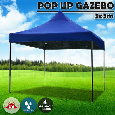 AU92.50 • Buy 3x3m Pop Up Gazebo Outdoor Tent Folding Marquee Party Camping Market Canopy Camp