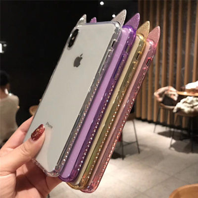 £5.04 • Buy Luxry Diamond Bling Cute Cat Ear Shockproof Soft Case Cover For IPhone XR XS MAX