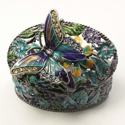 $19 • Buy Bejeweled Flower Motif Trinket Box With Butterfly On Top, Faberge Figurine CLR B