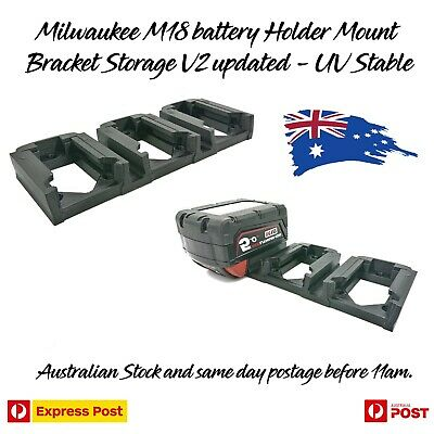 AU25.97 • Buy Milwaukee 18V M18 Battery Holder Mount Bracket Storage Dual / Triple V2 Updated