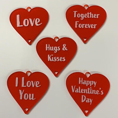 I Love You Gift Hugs & Kiss Keepsake 5cm Hanging Hearts Tag Plaque For Him Her • 1.99£