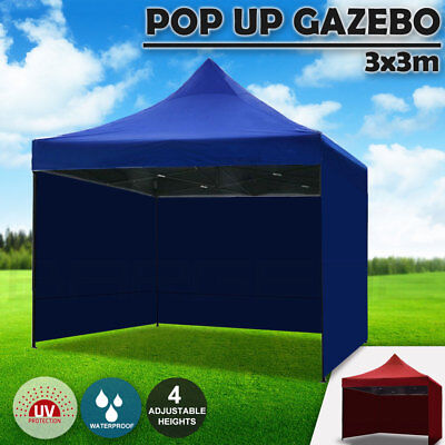 AU117.95 • Buy 3x3m Pop Up Gazebo Outdoor Tent Folding Marquee Party Camping Market Canopy Side