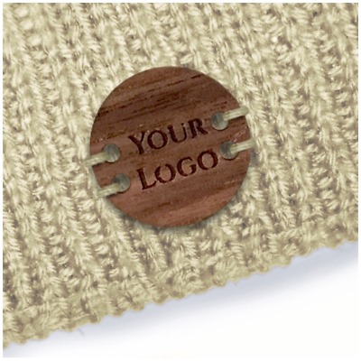 Personalize Walnut CIRCLE Tags 20mm X 20mm Wooden Handmade Clothing Knitted Croc • 7£