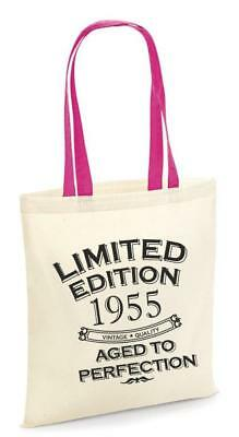 65th Party Cotton Tote Bag Birthday Presents Gifts Year 1955 Shopper Shopping • 7.49£