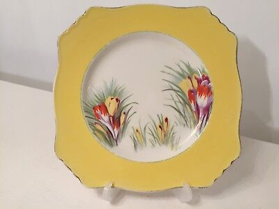 $ CDN29.79 • Buy Royal Winton Grimwades Yellow Crocus Flower Gold Trim Square Luncheon Plate 9
