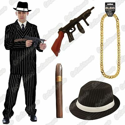 £8.88 • Buy Mens Gangster Pinstripe Costume 1920s Mafia Adult Book Day Fancy Dress Outfit