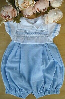 £12.90 • Buy Spanish Style Traditional Baby Boy Blue Smocked Embroidered Romper Suit 0-3-6-9m