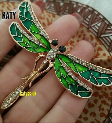 £4.80 • Buy Large Gold Clear Diamante Green Enamel  Crystal Dragonfly BROOCH Pin Broach Gift