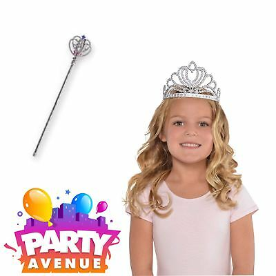 Girls Silver Princess Accessories Tiara Crown Sparkle Wand Fancy Dress Up • 5.18£