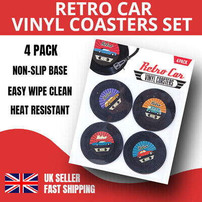 Set Of 4 Retro Cars Vinyl Coasters Vintage Camper Records Novelty Cup Mats Gift • 2.99£