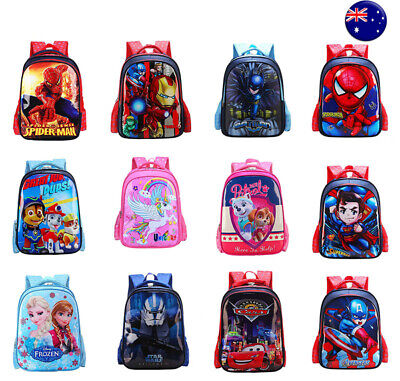 AU24.95 • Buy Kids Boys Girls Spiderman Unicorn Batman Frozen Cartoon School Bag Backpacks