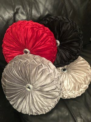 Cushion Crush Round Velvet Cushions Luxury Diamante Chic Filled Scatter Romany  • 8.99£