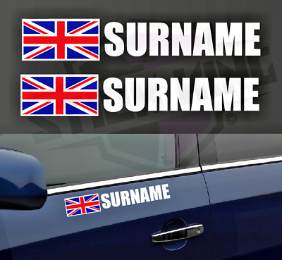 £5 • Buy 2 X Driver Name Stickers - Race Car Rally Motorsport Track Day UNION JACK Flag
