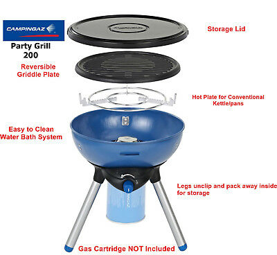 Campingaz Gas Party Grill 200 Portable BBQ/Stove - Easy Clean - 2020 Stock • 59.95£