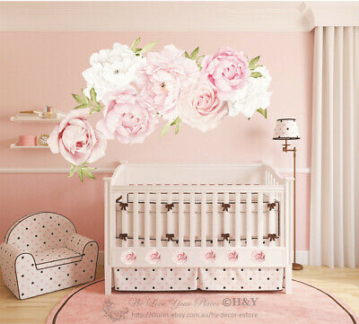 £35.02 • Buy Pink Peony Rose Flower Blossom Wall Stickers Kids Room Baby Nursery Decor Decal