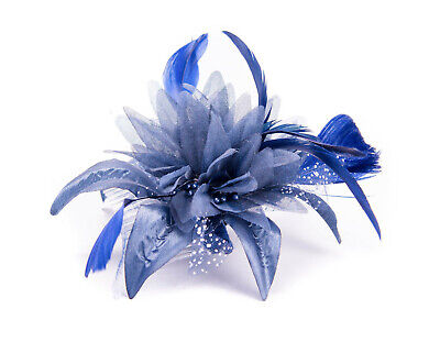 Navy Blue Feather Comb Fascinator Wedding Races Proms Bridal Hair Accessory 3 • 2.99£