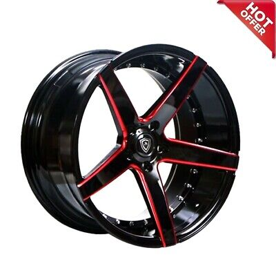 $1089 • Buy 4pcs 20 Staggered Or Non Staggered Marquee M3226 Black Red Wheels HotDeal