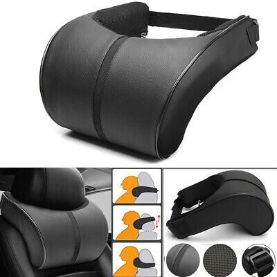 Black PU Leather Memory Cotton Car Seat Headrest Seat Pillow Head Neck Cushion • 14.99£