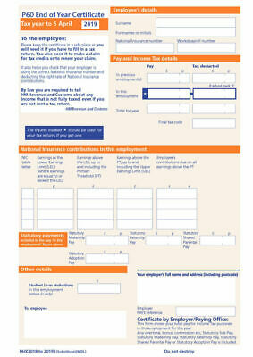 10 X P60 FORMS HMRC APPROVED HIGH QUALITY FOR 2018/19 SAGE IRIS/TAS PAYROLL • 1.99£