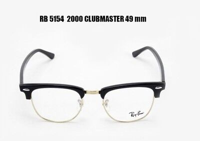 70d016aa79 Ray Ban RX 5154 2000 Clubmaster Eyeglass Frames Black Silver 49 Mm • 52.98