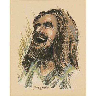 Joyful Laughing Jesus Artistic Sage And Taupe 8 X 10 Wood Wall Sign Plaque • 13.71£
