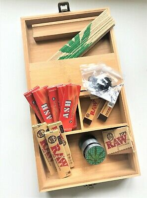 £24.99 • Buy Gift Set Large Wooden Smoking Smokers Rolling Box Bamboo With Raw Paper Grinder