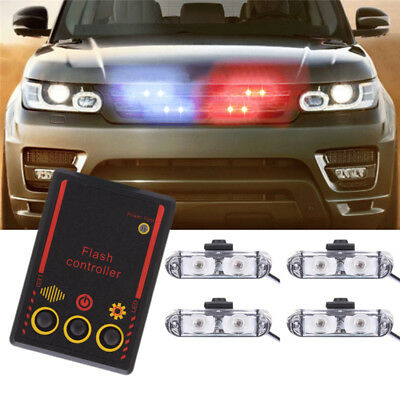 $9.69 • Buy 4x2 LED Wire Control Car Truck Police Strobe Emergency Flashing Lights Blue Red