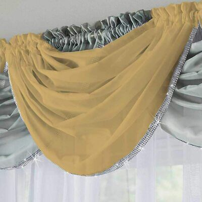 £6.99 • Buy Silver Sparkle Glitter Stone Trim Mustard Gold Twinkly Voile Net Curtain Swag