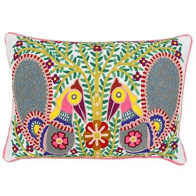 Riva Paoletti Filled Azerro Hand Crafted Cushion Cover, 30 X 50cm Peacock Design • 15.95£