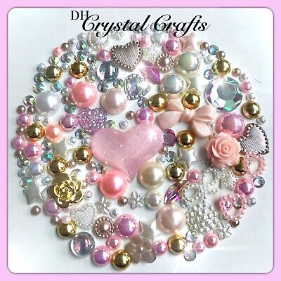 Beige, Baby Pink, Cream And White Crystals & Pearls Flatbacks For Decoden Crafts • 4.09£