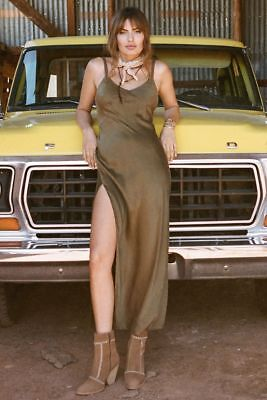 AU380 • Buy Spell Designs Cabin Love Silk Slip Dress Olive- XS