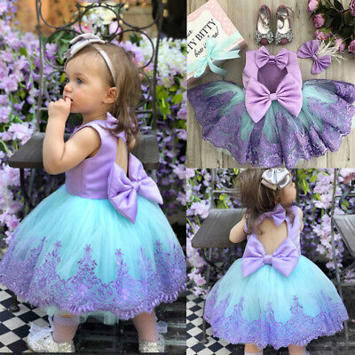 AU15.99 • Buy AU Toddler Kids Baby Girls Lace Bowknot Tulle Pageant Princess Formal Gown Dress