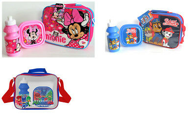 Kids Character School Insulated Lunch Box Sandwich Bag Set And Bottle With Strap • 5.99£