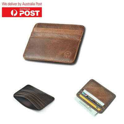 AU13.98 • Buy Men's Genuine Leather Credit Card Holder Money Slim Wallet With 7 Card Slots AU
