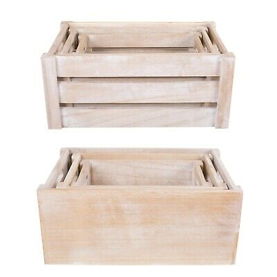 Rustic Light Brown Display Boxes Decorative Home Wooden Crates • 8.99£