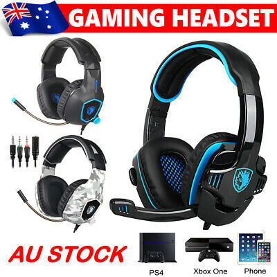 AU22.89 • Buy Sades 3.5mm Gaming Headset Headphones Surround Mic For PC Laptop PS4 Xbox One