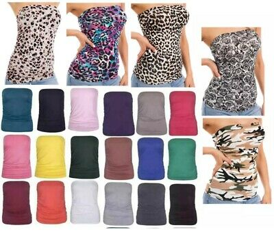 £4.95 • Buy Womens Ladies Ruched Sides Boob Tube Stretch  Sleeveless Top Women 8-26