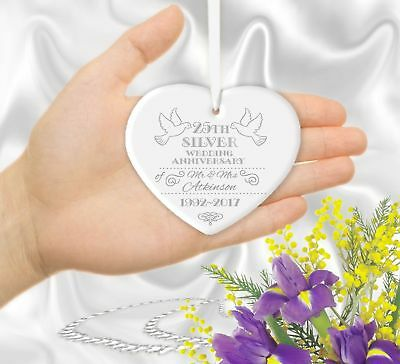 Personalised 25th 10th 16th 23rd Silver Wedding Anniversary Heart Gift Ornament • 9.99£