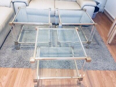 £550.50 • Buy Square Lucite And 3 Glass's Coffee Tables By Pierre Vandel, 1970s Good Condition